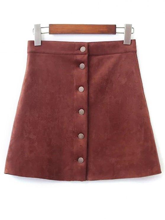 Solo pecho-gamuza sintética de la falda - Marrón L
