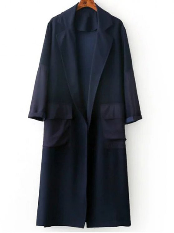 Side Slit Lapel Neck Long Sleeve Trench Coat - PURPLISH BLUE M Mobile