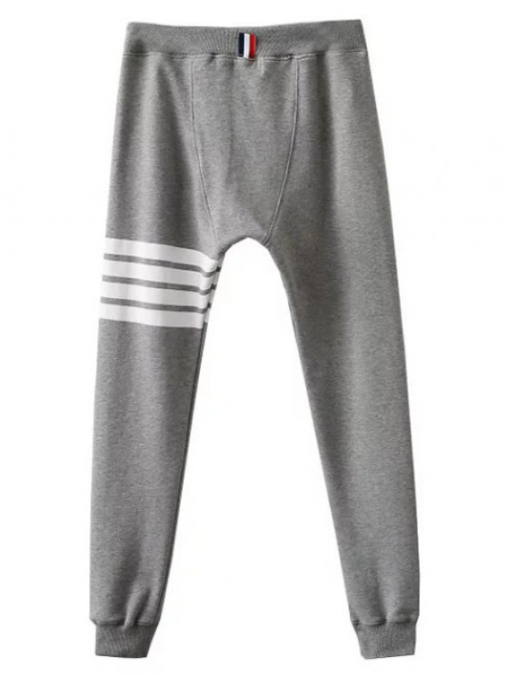 Striped Drawstring Active Pants - GRAY S Mobile