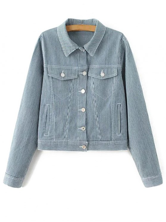 Striped Denim Jacket - BLUE L Mobile