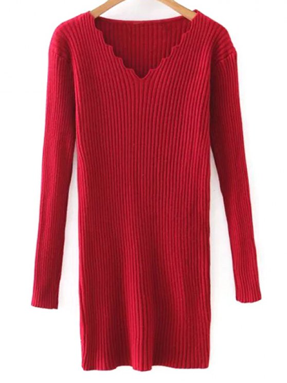 outfit Slimming V Neck Long Sleeve Sweater Dress - RED ONE SIZE