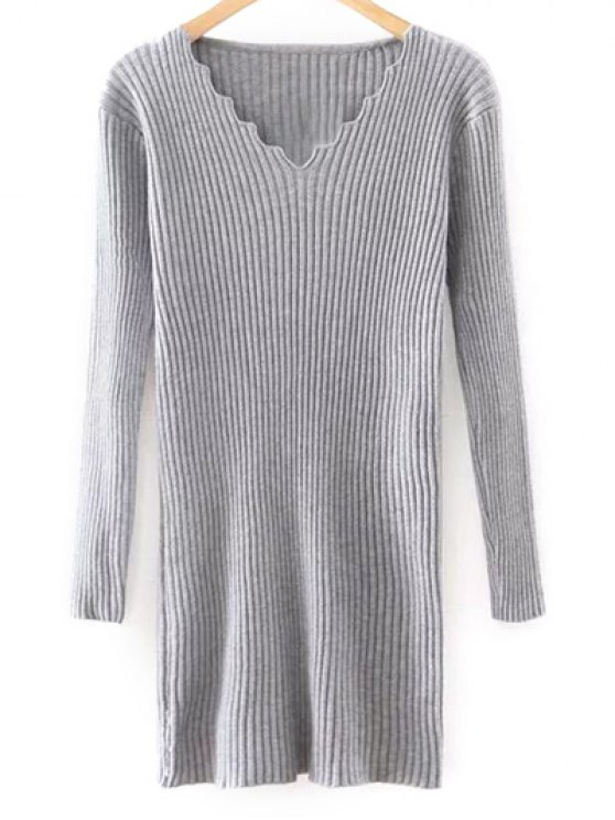 outfits Slimming V Neck Long Sleeve Sweater Dress - GRAY ONE SIZE