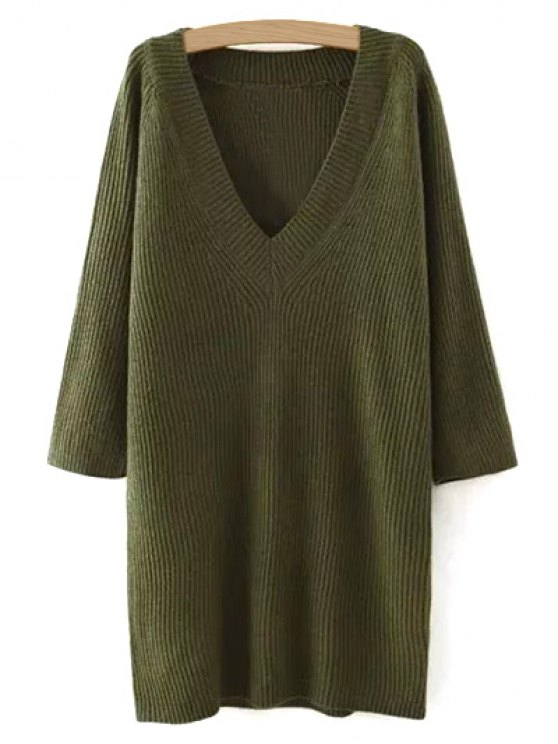 Solid Color Plunging Neck Sweater Dress - GREEN ONE SIZE Mobile