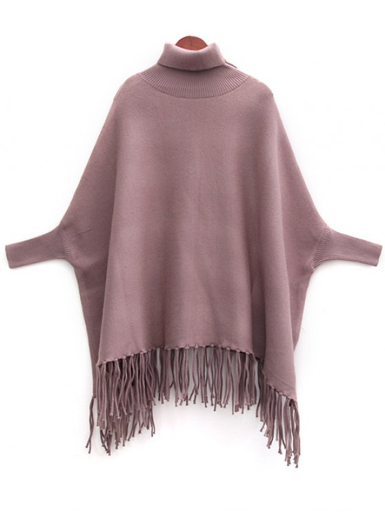 fancy Tassels Turtle Neck Batwing Jumper - LIGHT COFFEE ONE SIZE