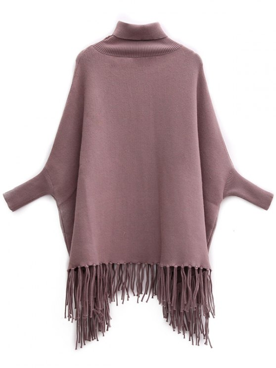 Tassels Turtle Neck Batwing Jumper - LIGHT COFFEE ONE SIZE Mobile
