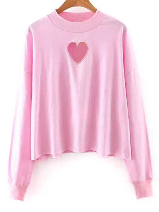 Solide Couleur longue Cutout Sleeve Sweatshirt - ROSE PÂLE S