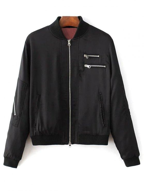 womens Slim Zipper Embellished Stand Collar Bomber Jacket - BLACK S