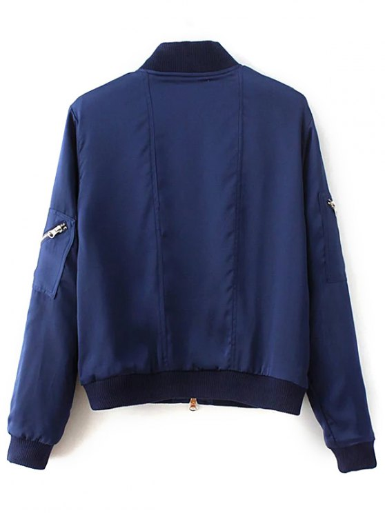 Slim Zipper Embellished Stand Collar Bomber Jacket - BLUE M Mobile