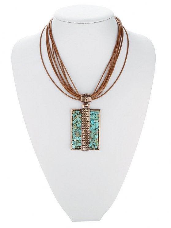 fashion Tiered Rectangle Turquoise Multilayered Necklace - ROSE GOLD