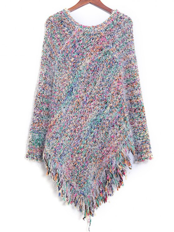 Colorful Striped Fringe Jumper - COLORFUL ONE SIZE Mobile