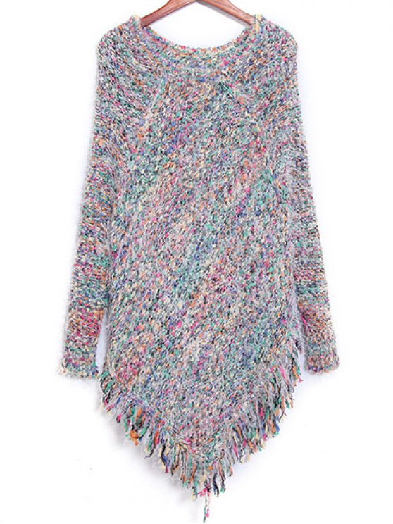 Colorful Striped Fringe col rond Jumper - Coloré TAILLE MOYENNE