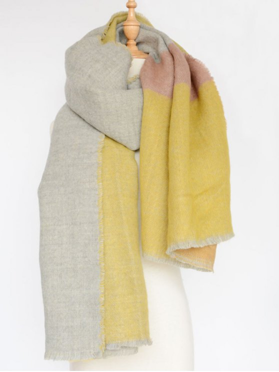 Colorblocked Shawl Scarf - YELLOW  Mobile