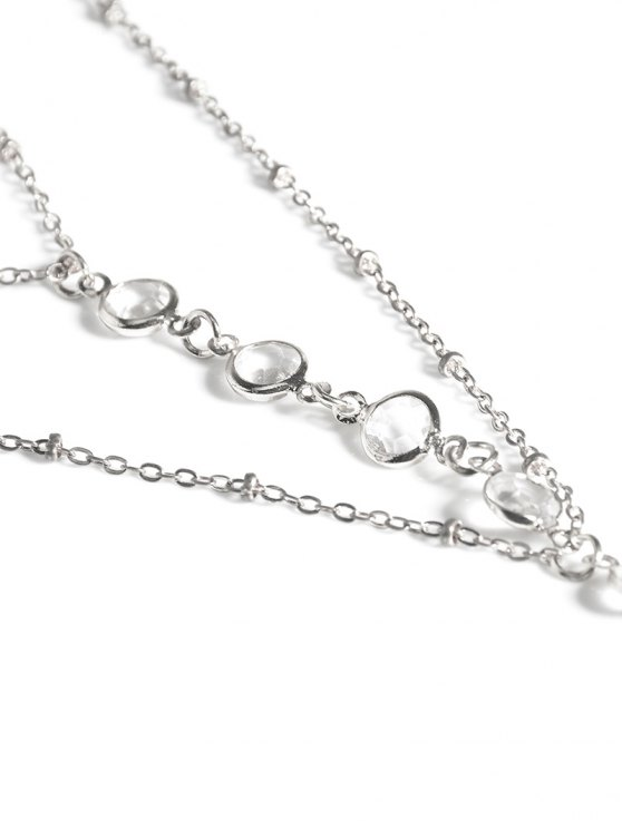 Faux Crystal Beaded Toe Ring Anklet - SILVER  Mobile