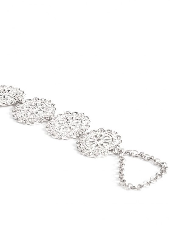Blossom Sequins Rhinestone Anklet - SILVER  Mobile