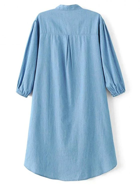 Floral Embroidered High Low Chambray Tunic Dress - BLUE M Mobile