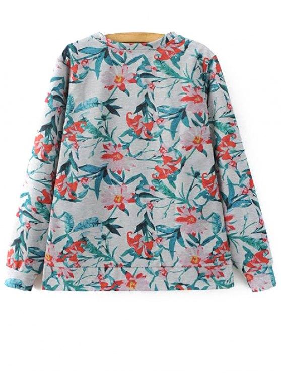 Floral Print Sweatshirt - COLORMIX L Mobile