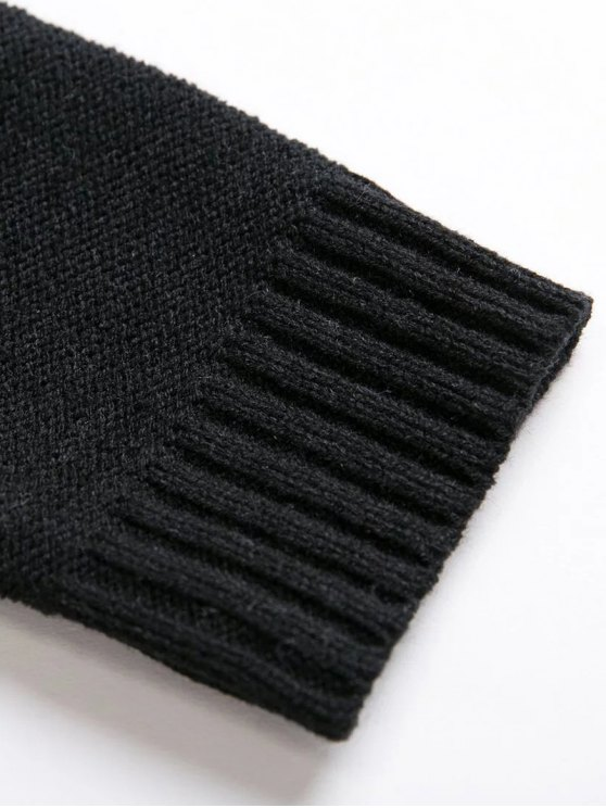 Cable Knit Lacing Sweater - BLACK ONE SIZE Mobile