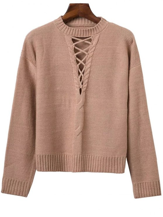 Lace-Up Cable Knit Sweater - Kaki TAILLE MOYENNE