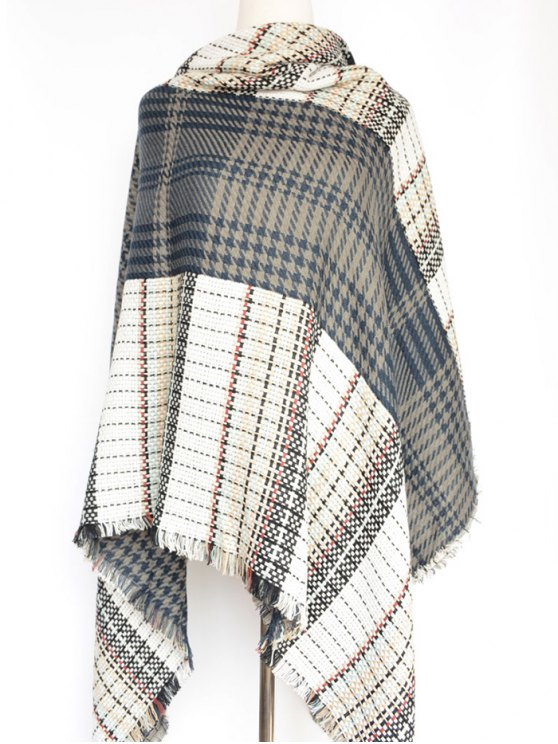 Houndstooth Woven Shawl Scarf -   Mobile