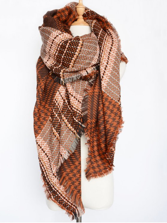 Houndstooth Woven Shawl Scarf - DARK RED  Mobile