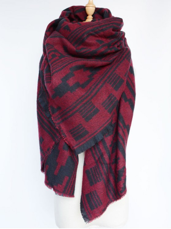 Geometric Large Shawl Scarf - DARK RED  Mobile