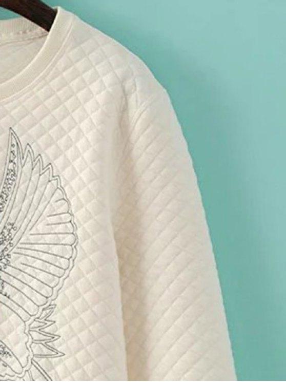 Bird Embroidered Crew Neck Sweatshirt - CADETBLUE L Mobile