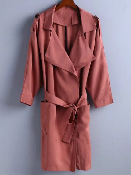 hot Trench Coat - BRICK-RED L