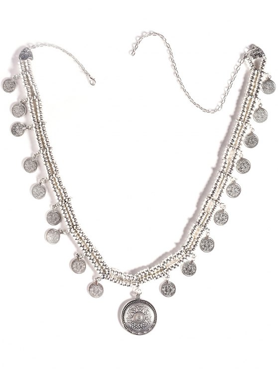 Coin Tassel Belly Chain - SILVER  Mobile