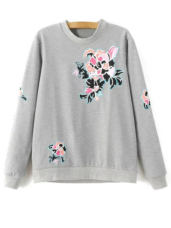 chic Floral Pattern Grey Sweatshirt - GRAY M