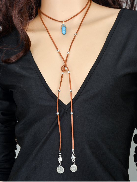 trendy Coins Bullet Necklace - BROWN