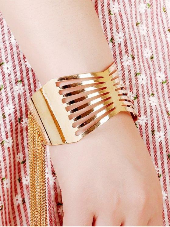 Cut Out Geometric Fringe Cuff Bracelet -   Mobile