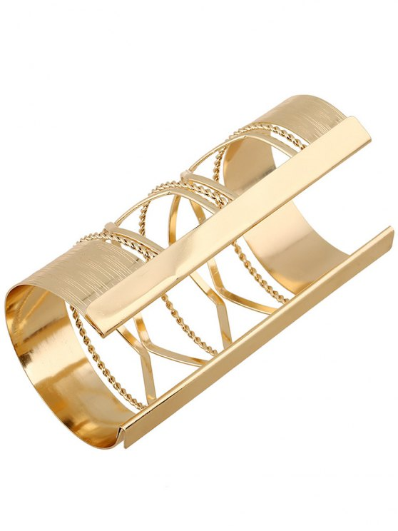 Cut Out Twisted Crisscross Cuff Bracelet - GOLDEN  Mobile