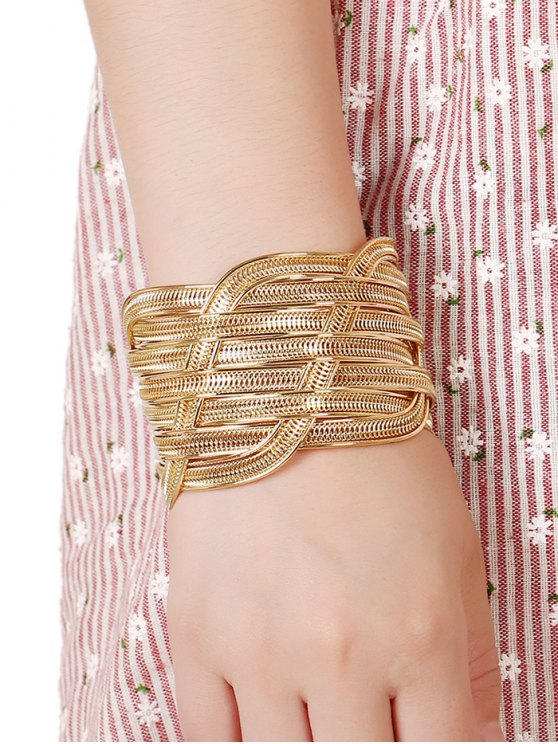 Cut Out Chain Cuff Bracelet - PLATINUM  Mobile