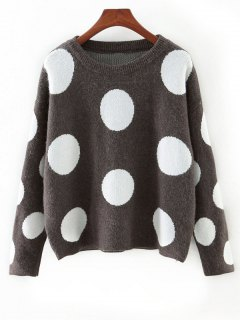 Cute Polka Dot Color Block Sweater - Gray