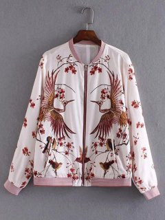 Floral And Birds Pattern Bomber Jacket - White S