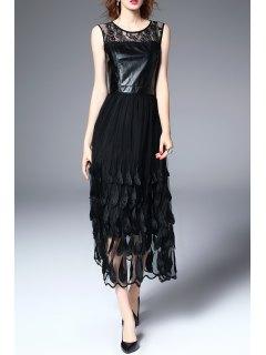 Lace Feathered Mesh Midi Dress - Black S