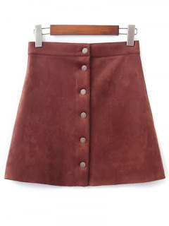 Faux Suede A-Line Skirt - Brown S