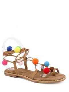 Pom Poms Tie Up Flat Heel Sandals - Light Brown 38