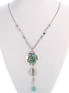 Faux Turquoise Disc Necklace - Silver