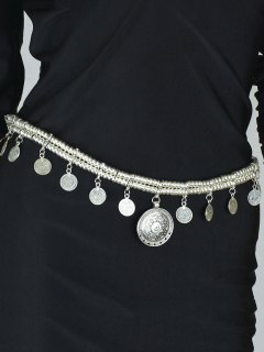 Coin Tassel Belly Chain - Silver