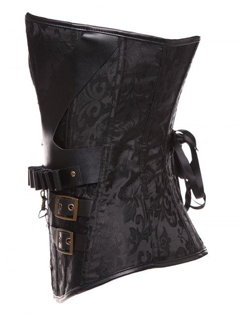 ladies Lace Up Belt Paisley Corset With T-Back - BLACK M Mobile
