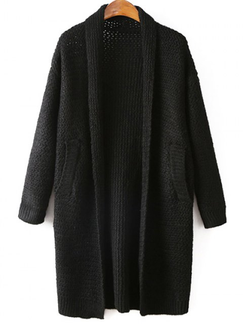 fashion Pockets Cardigan - BLACK ONE SIZE Mobile