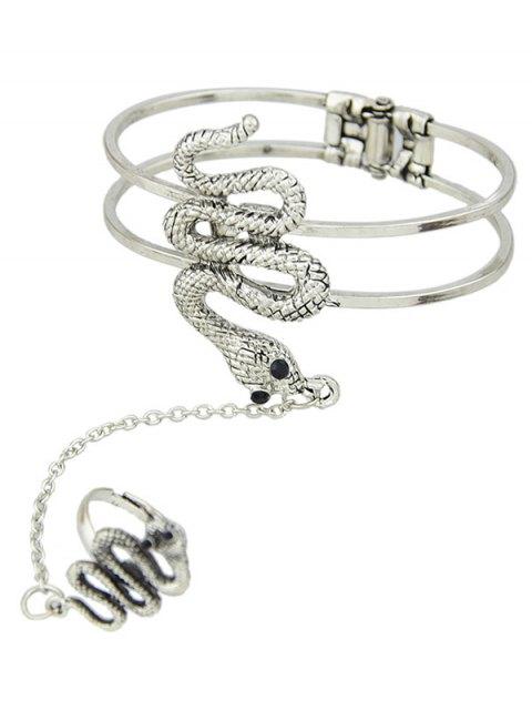 fancy Snake Bracelet With Ring -   Mobile