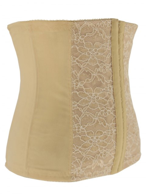 best Lacework Spliced Waist Training Corset - APRICOT S Mobile