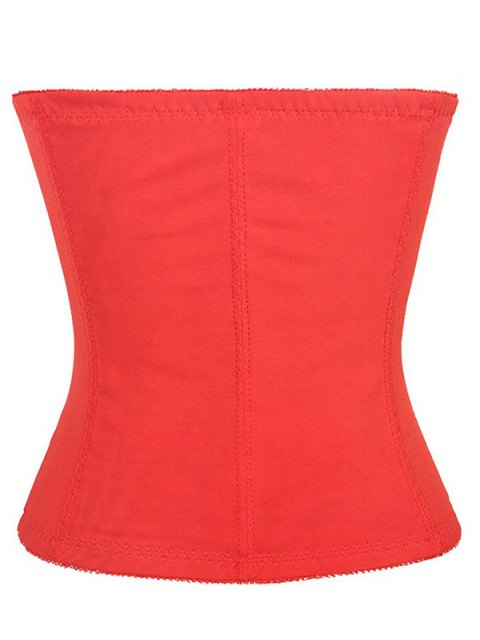 online Lacework Spliced Waist Training Corset - RED L Mobile