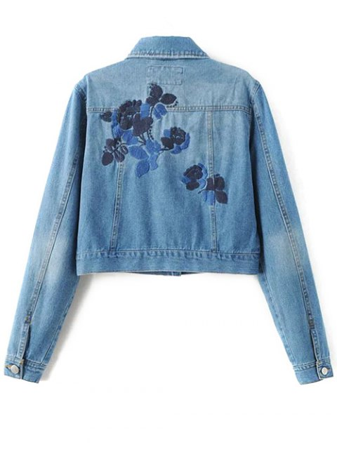 womens Embroidered Back Denim Jacket - BLUE M Mobile