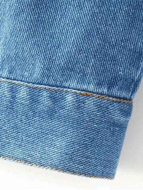 women Embroidered Back Denim Jacket - BLUE S Mobile