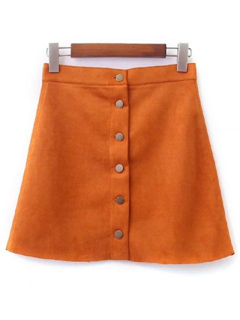 chic Faux Suede A-Line Skirt - EARTHY L Mobile