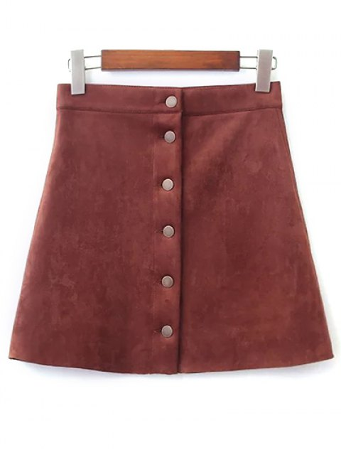 sale Faux Suede A-Line Skirt - BROWN L Mobile