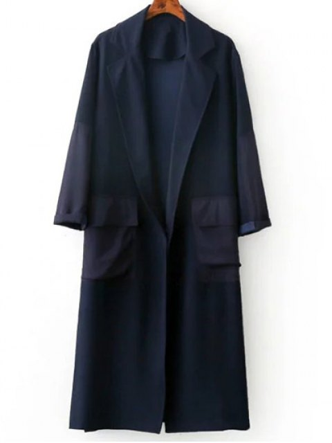 buy Side Slit Lapel Neck Long Sleeve Trench Coat - PURPLISH BLUE L Mobile